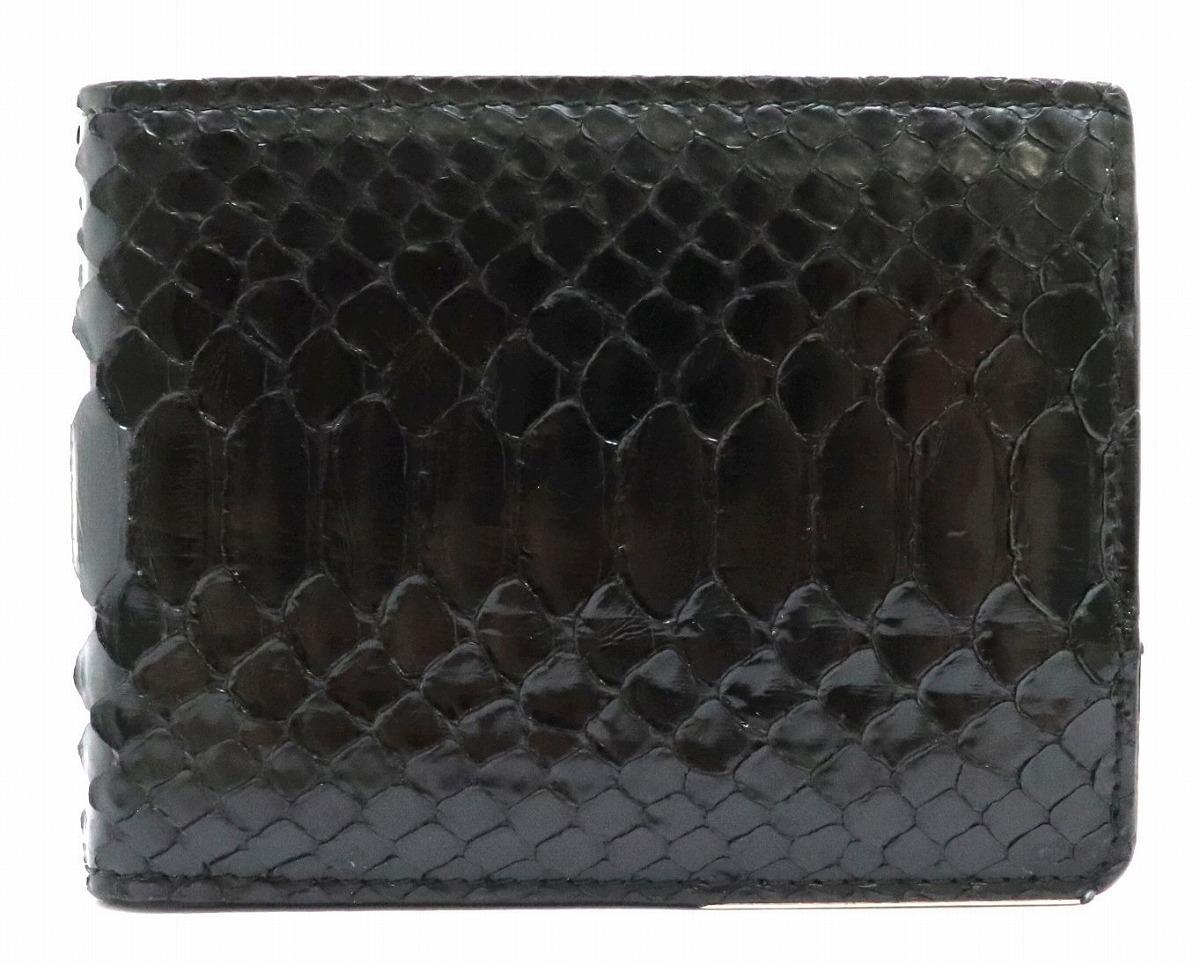 Christian Dior クリスチャン ディオール ディオールオム HOMME オム パイソン 2つ折財布 札入れ BEE レザー ブラック 黒 【中古】