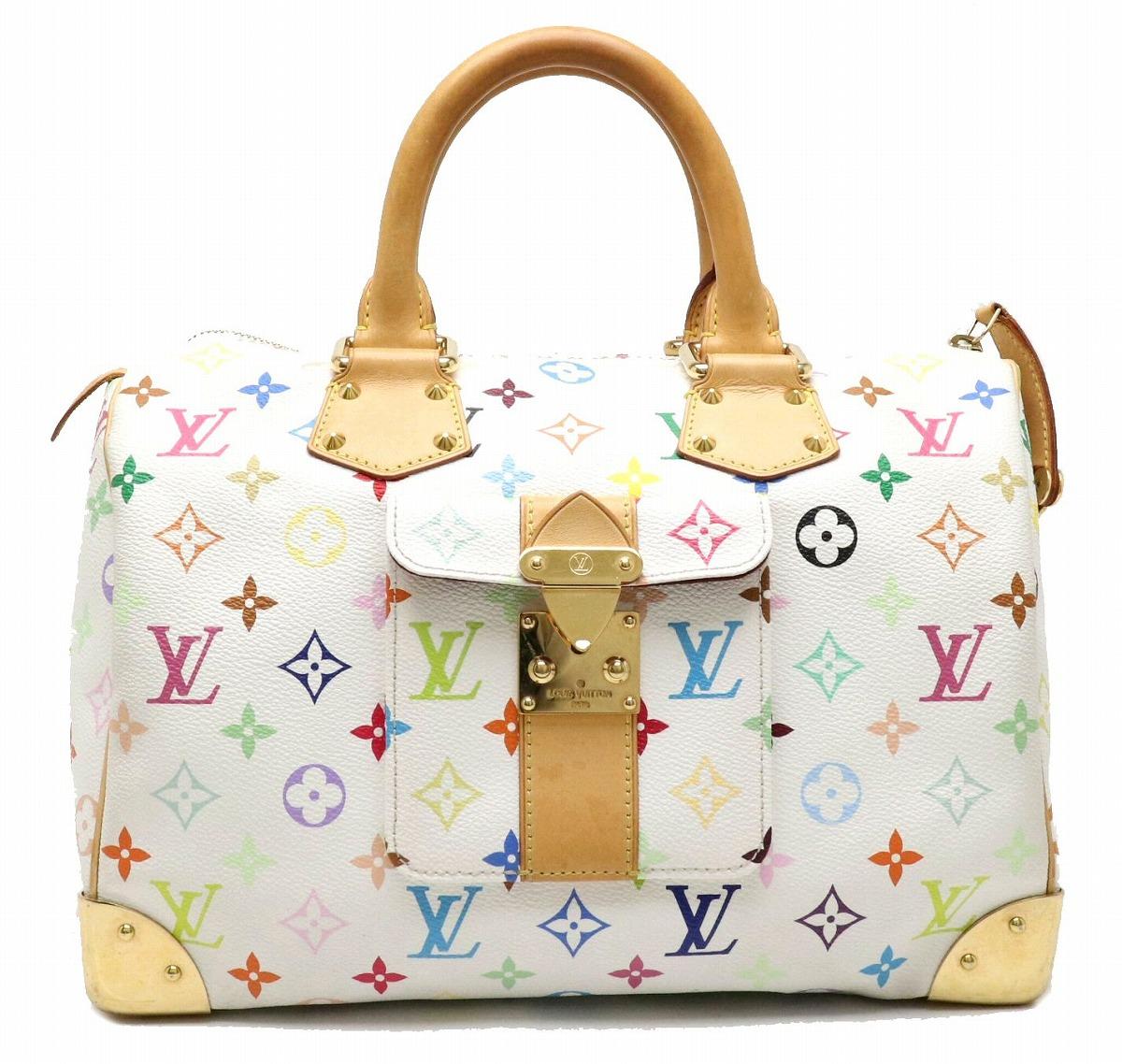 【バッグ】LOUIS VUITTON ルイ ヴィトン モノグラムマルチカラー スピーディ30 ハンドバッグ ミニボストンバッグ ブロン 白 ホワイト M92643 【中古】