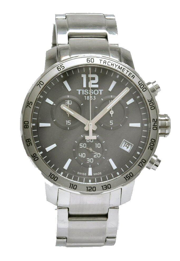 【ウォッチ】TISSOT ティソ クイックスター クロノグラフ デイト グレー文字盤 SS ステンレス メンズ クォーツ 腕時計 T095417 【中古】