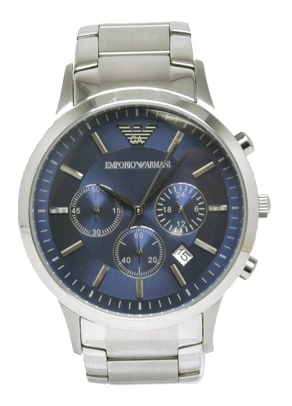 【ウォッチ】 EMPORIO ARMANI エンポリオ アルマーニ デイト クロノグラフ ブルー文字盤 メンズ クォーツ 腕時計 AR-2444 AR2444 【中古】