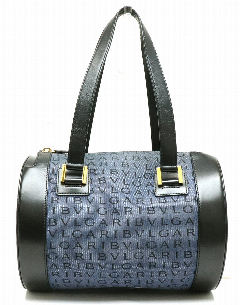 【バッグ】BVLGARI ブルガリ ロゴマニア ハンドバッグ 筒型 キャンバス デニム レザー ブルー 青 ブラック 黒 【中古】