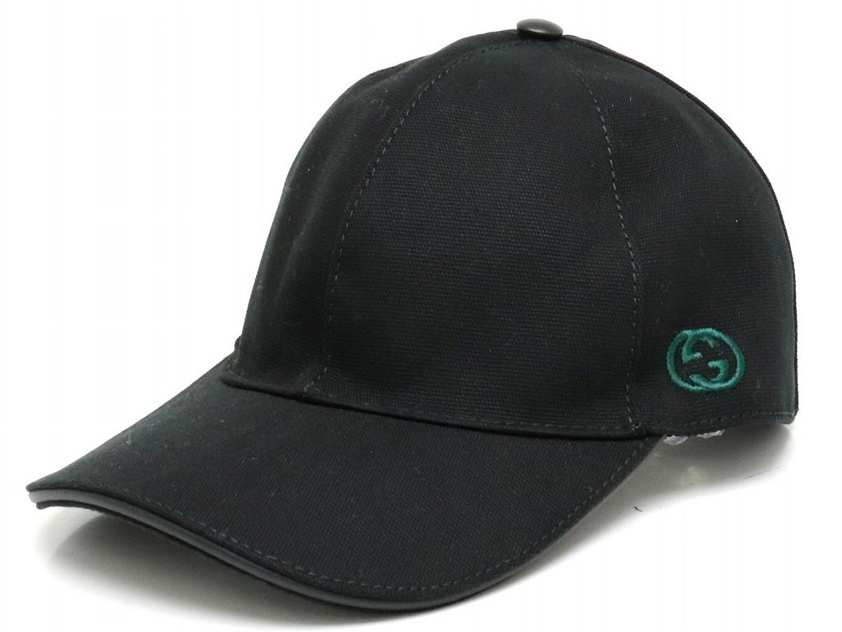 【アパレル】GUCCI グッチ キャップ インターロッキングG 帽子 #Lサイズ ダブルG ブラック レッド グリーン 黒 緑 赤 387554 【中古】