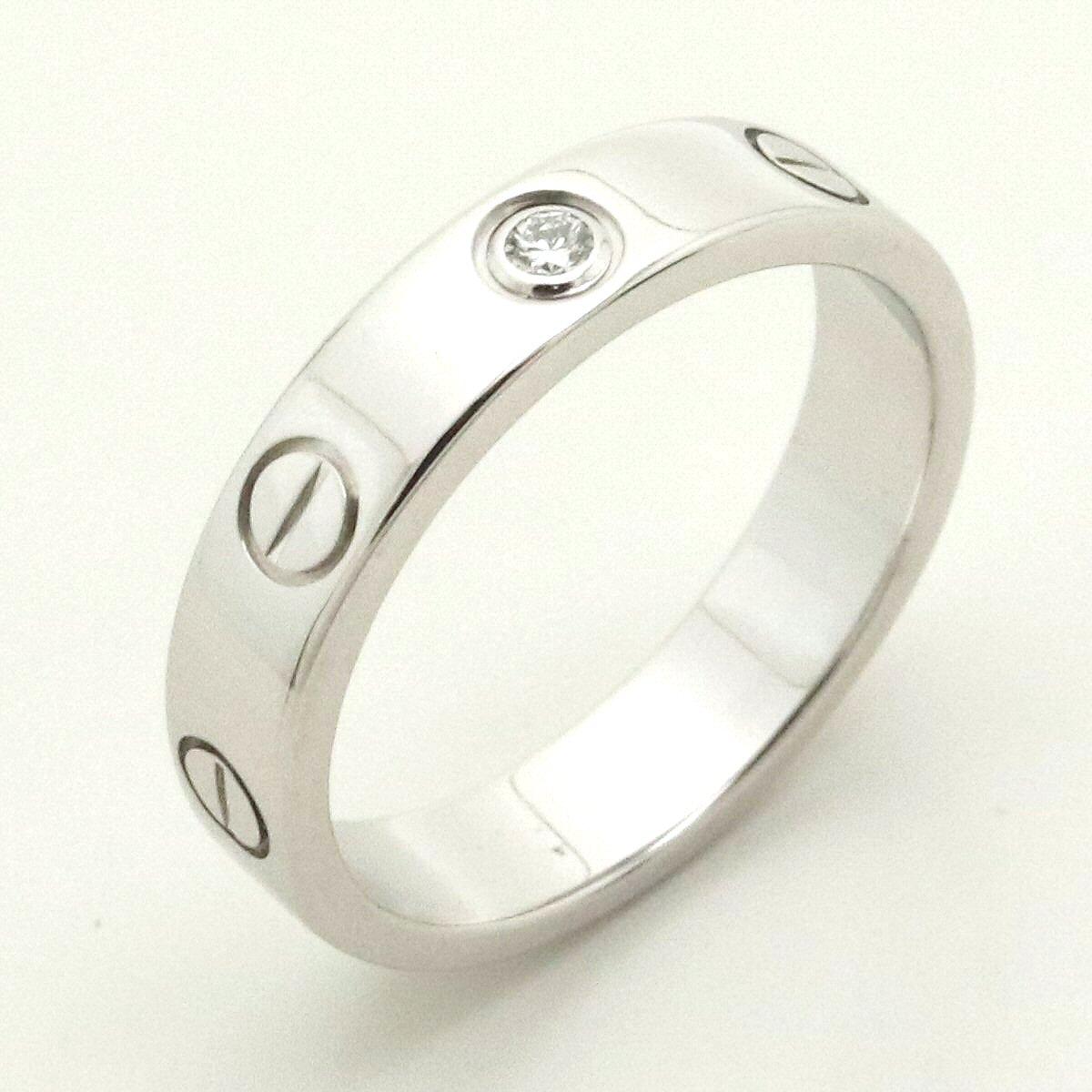 【ジュエリー】【新品仕上げ済】Cartier カルティエ ミニラブリング 指輪 ウエディングリング 1PD ダイヤモンド K18WG ホワイトゴールド 10号 #50 B4050500 【中古】