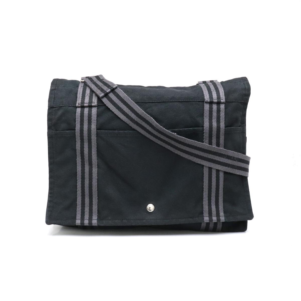 バッグ HERMES エルメス フールトゥ ストアー バサスMM ショルダーバッグ キャンバス 中古 ブラック 黒 お見舞い 斜め掛けショルダー グレー