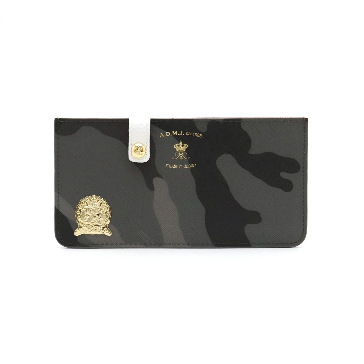 【新品未使用品】【バッグ】A.D.M.J エーディーエムジェイ ADMJ カモフラージュ スリムウォレット エンブレム レザー グレー ピンク ホワイト 15SA06104