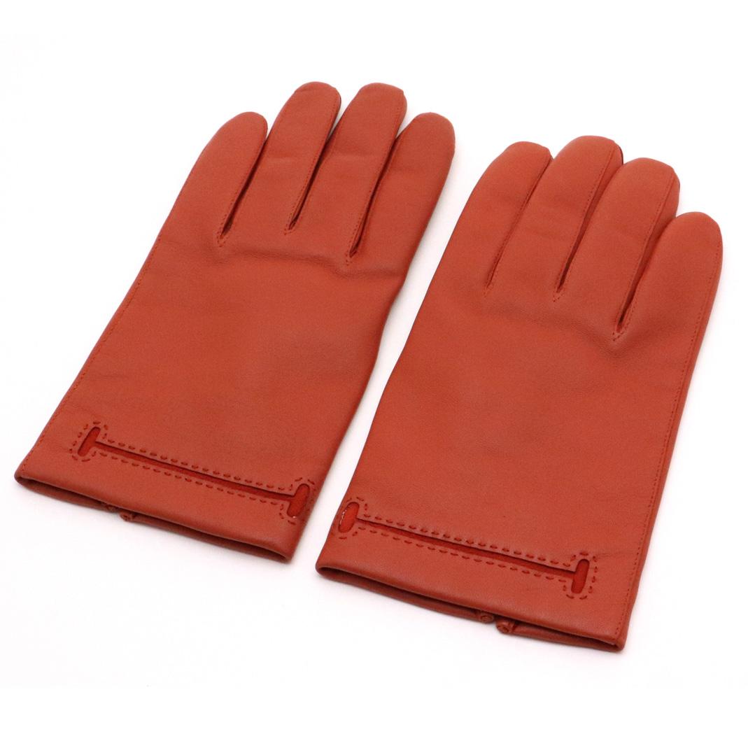 【未使用品】HERMES エルメス レザー グローブ 手袋 オレンジブラウン #8 【中古】