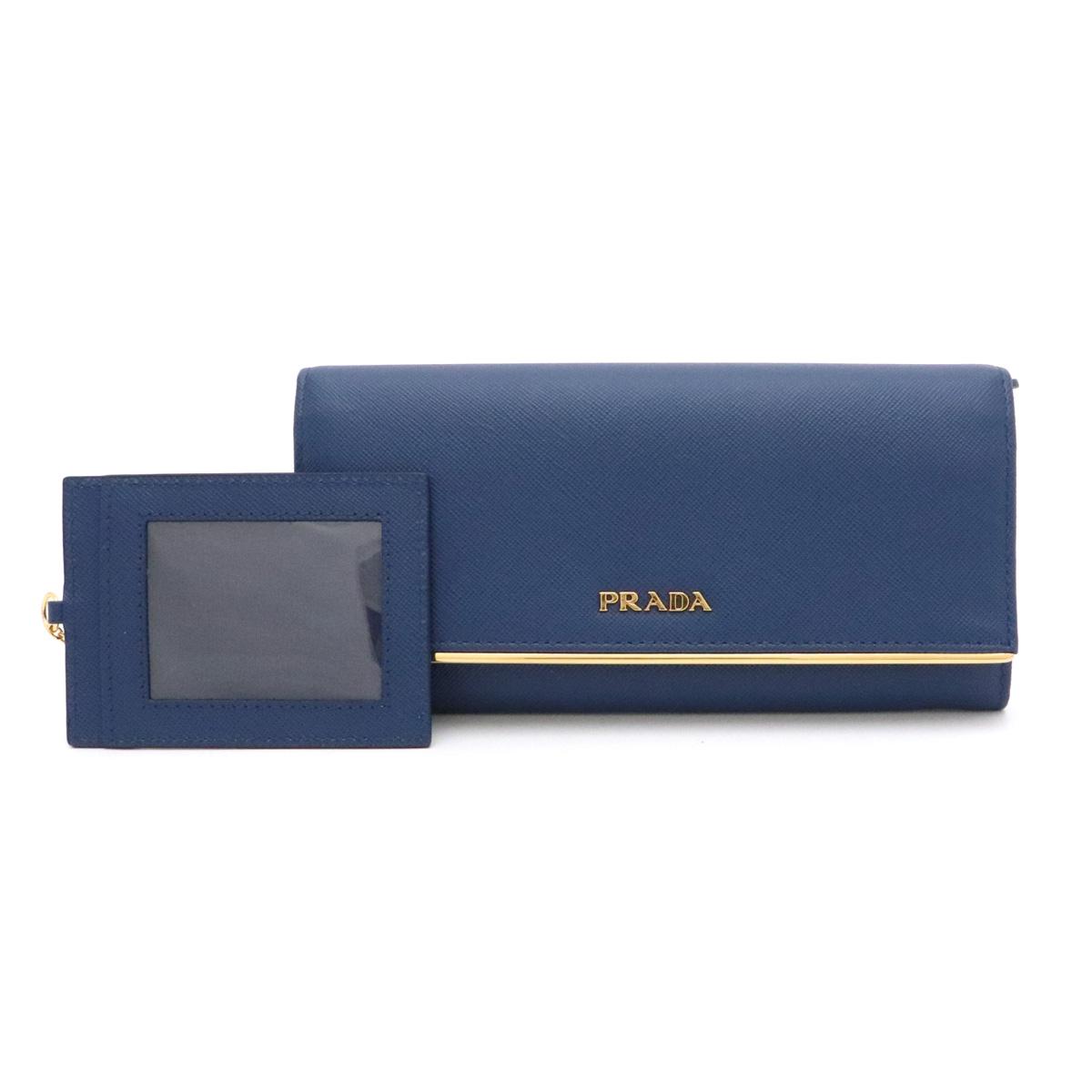 【財布】PRADA プラダ 2つ折り長財布 二つ折り財布 SAFFIANO サフィアーノ レザー BLUETTE ブルー 青 ゴールド金具 パスケース付き 1M1132 【中古】
