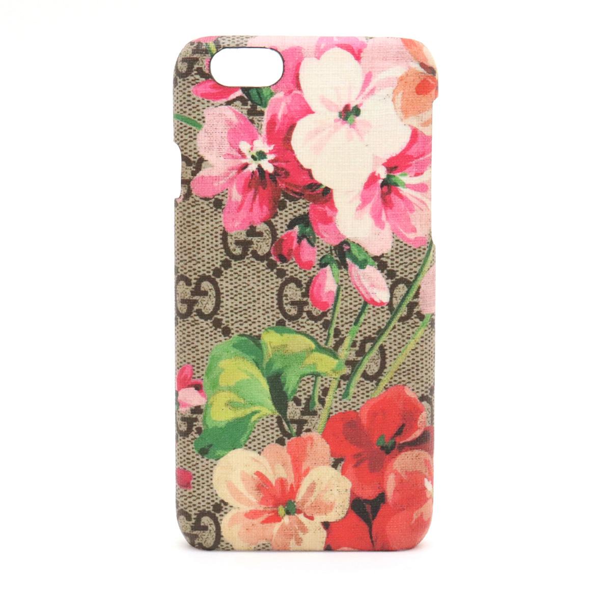 GUCCI グッチ GGブルームス GGスプリーム 携帯ケース iPhone 6 6S ケース アイフォンケース スマホカバー PVC カーキベージュ 426573 【中古】