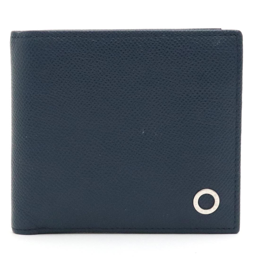 【財布】BVLGARI ブルガリ ブルガリブルガリ グレインレザー 型押しレザー 2つ折財布 二つ折り財布 ネイビー 紺 ブルー 青 シルバー金具 【中古】