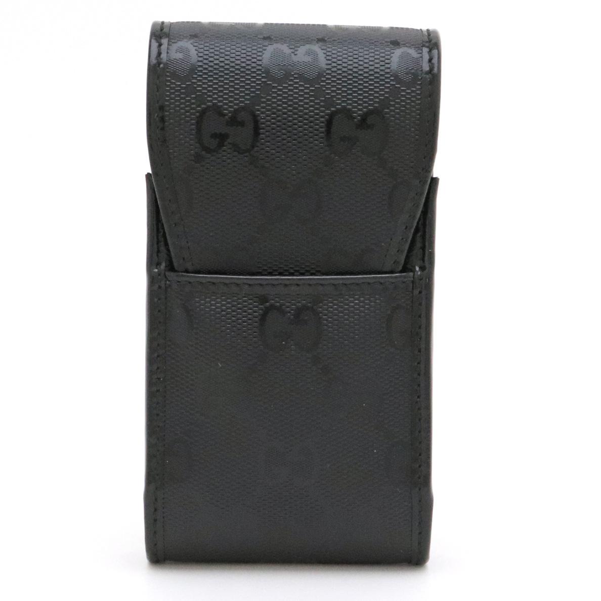 GUCCI グッチ GGインプリメ シガレットケース タバコケース iQOSケース アイコスケース PVC レザー 黒 ブラック 181716 【中古】
