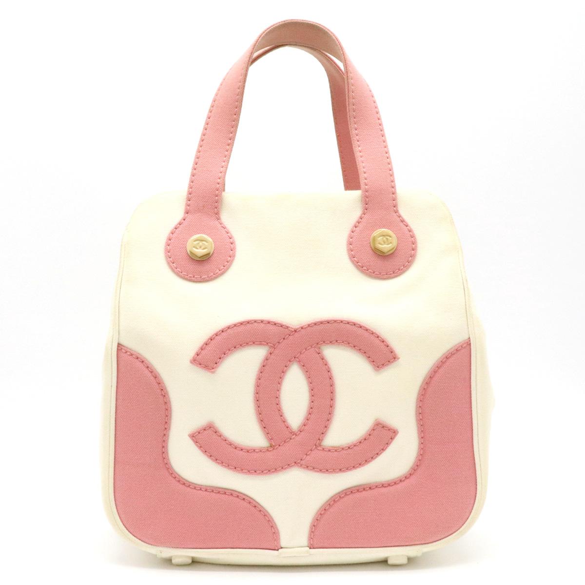 【バッグ】CHANEL シャネル ココマーク トート トートバッグ ハンドバッグ キャンバス ホワイト 白 ピンク 【中古】