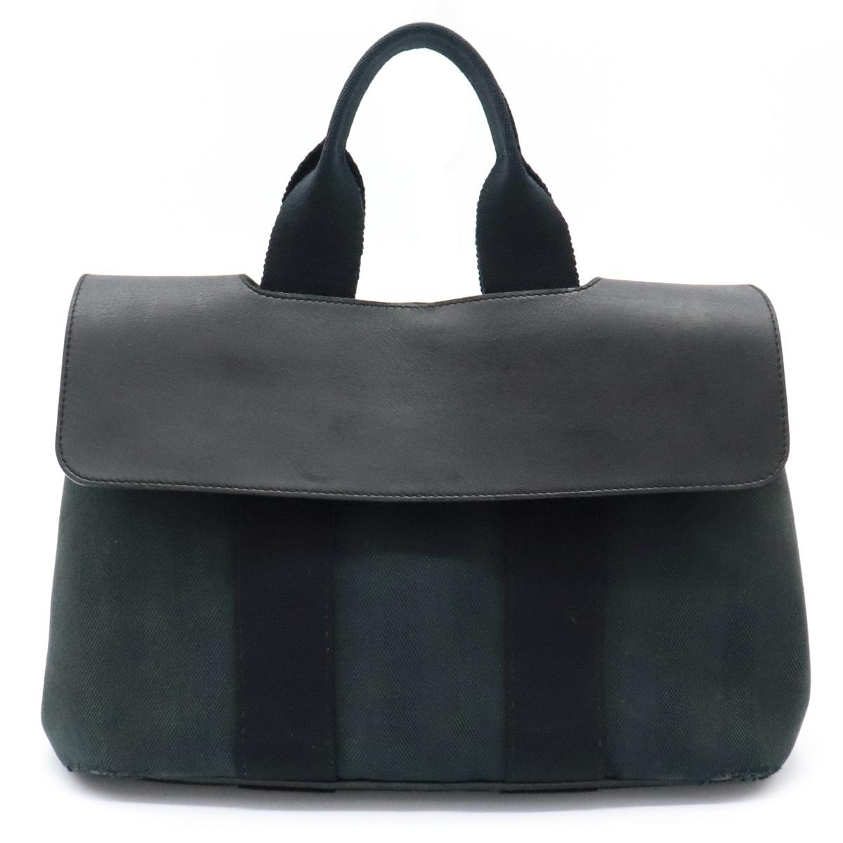 【バッグ】HERMES エルメス ヴァルパライソPM ハンドバッグ トートバッグ ミニトート キャンバス レザー ブラック 黒 【中古】