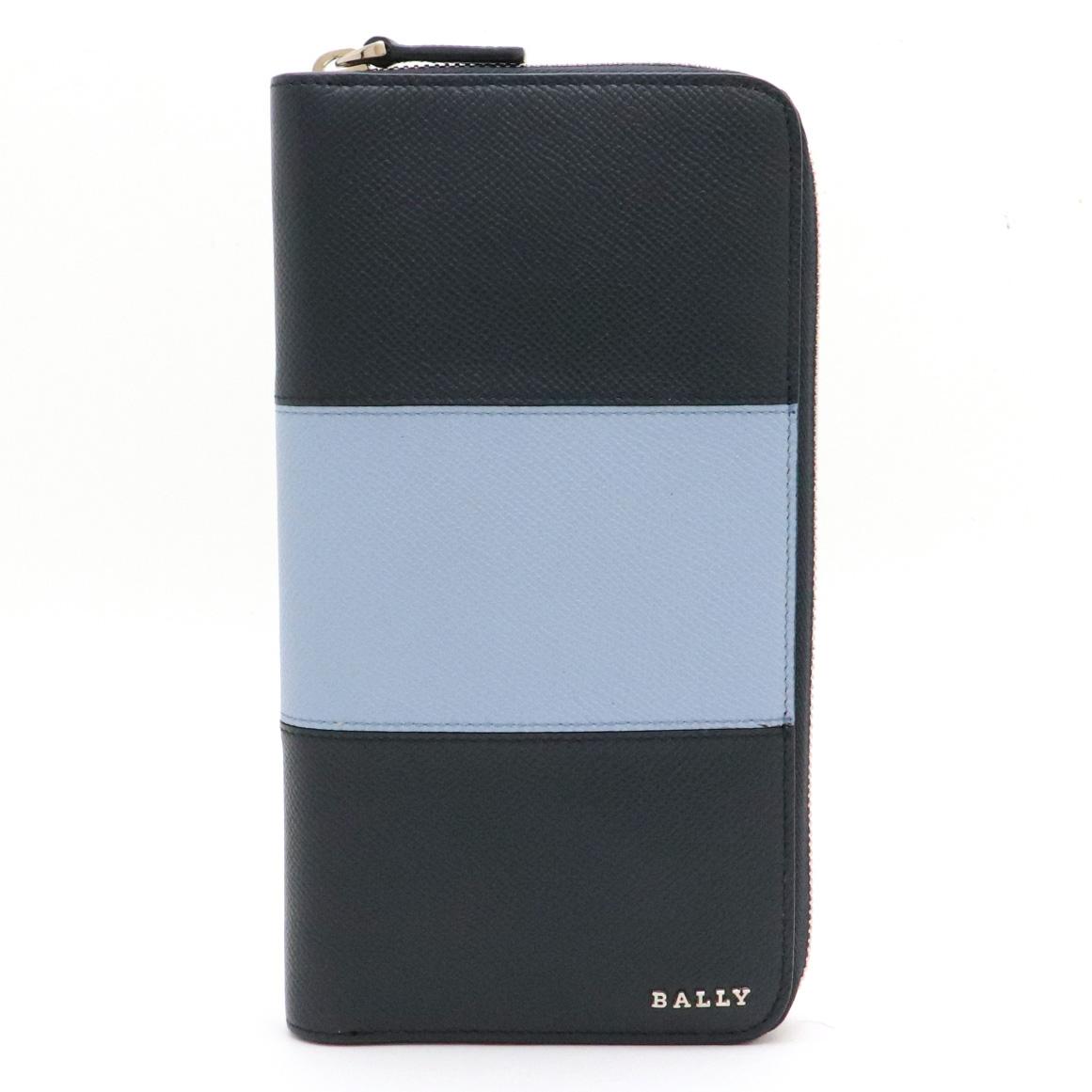 【新品未使用品】【財布】BALLY バリー オーガナイザー ラウンドファスナー 長財布 レザー ネイビー ライトブルー