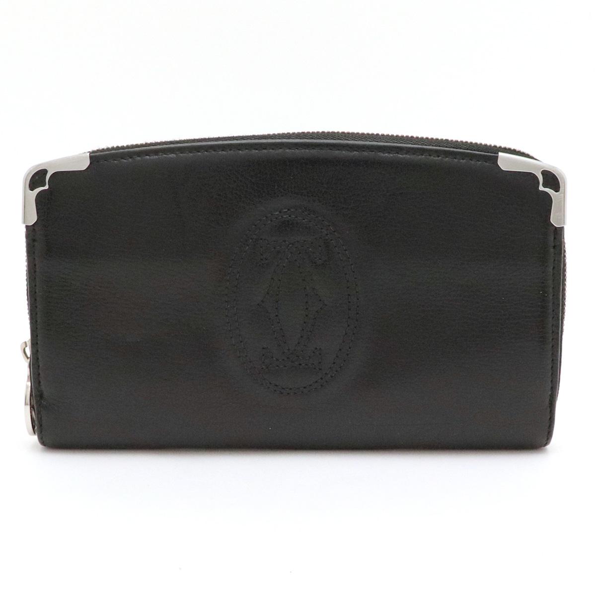 【財布】Cartier カルティエ マルチェロ ラウンドファスナー 長財布 レザー 黒 ブラック シルバー金具 L3000915 【中古】