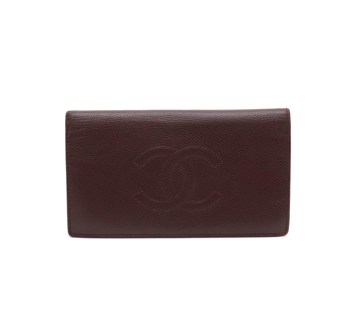 【財布】CHANEL シャネル キャビアスキン ココマーク 2つ折長財布 二つ折り レザー 茶 ダークブラウン A48651 【中古】