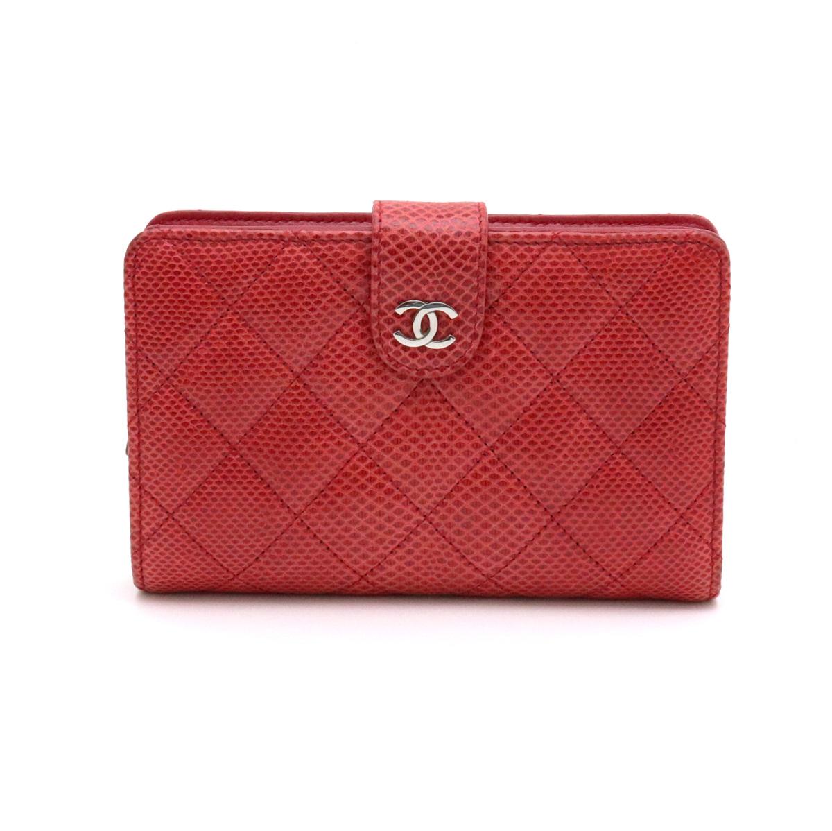 【財布】CHANEL シャネル マトラッセ ココマーク 2つ折り財布 二つ折り リザード レッド 赤 シルバー金具 A48667 【中古】