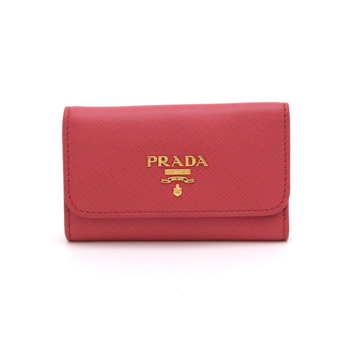 PRADA プラダ SAFFIANO METAL 6連キーケース キーケース レザー PEONIA ピンク ゴールド金具 1PG222 【中古】