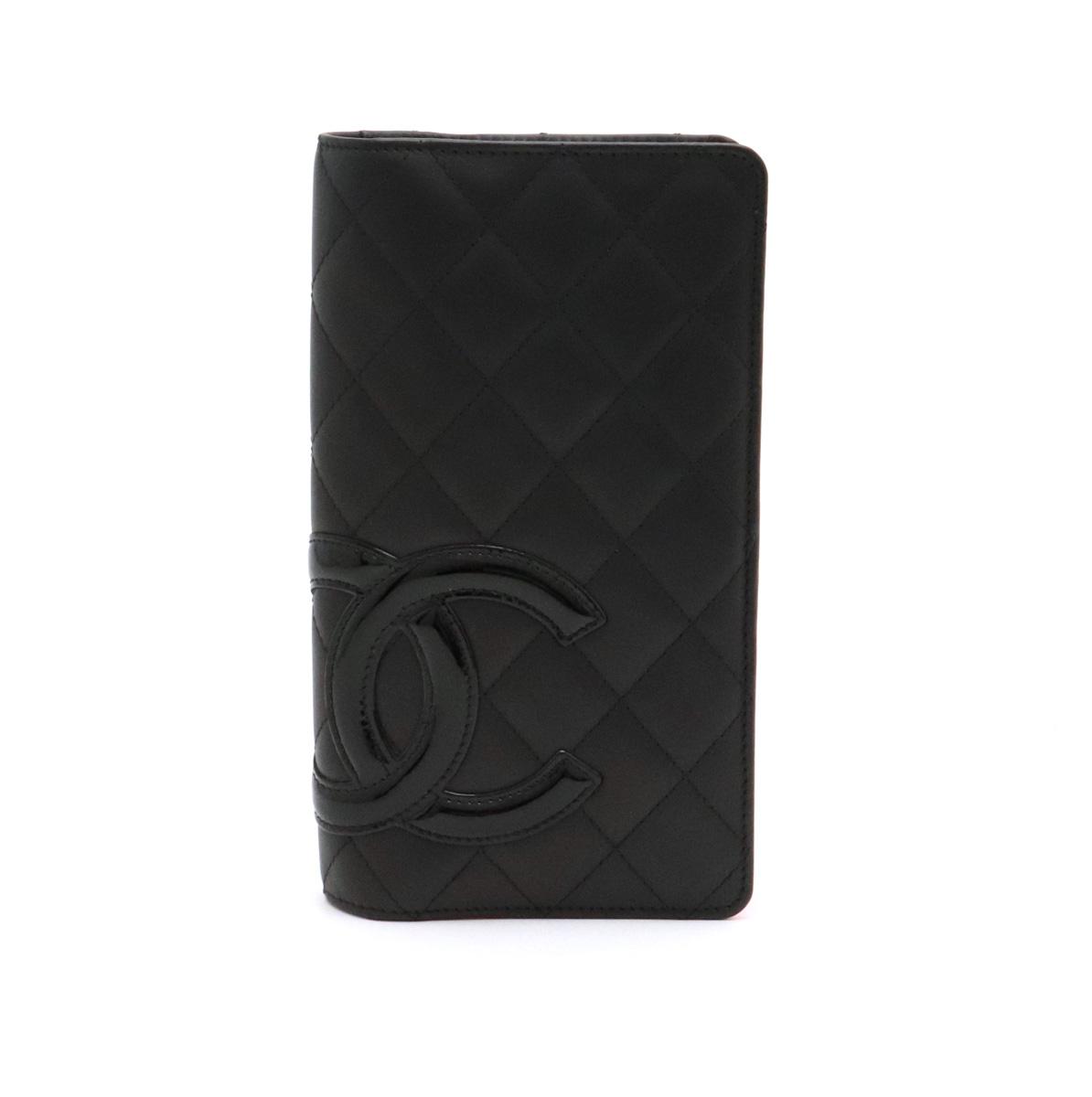 【財布】CHANEL シャネル カンボンライン ココマーク 2つ折長財布 レザー ソフトカーフ エナメル 黒 ブラック ピンク A26717 【中古】