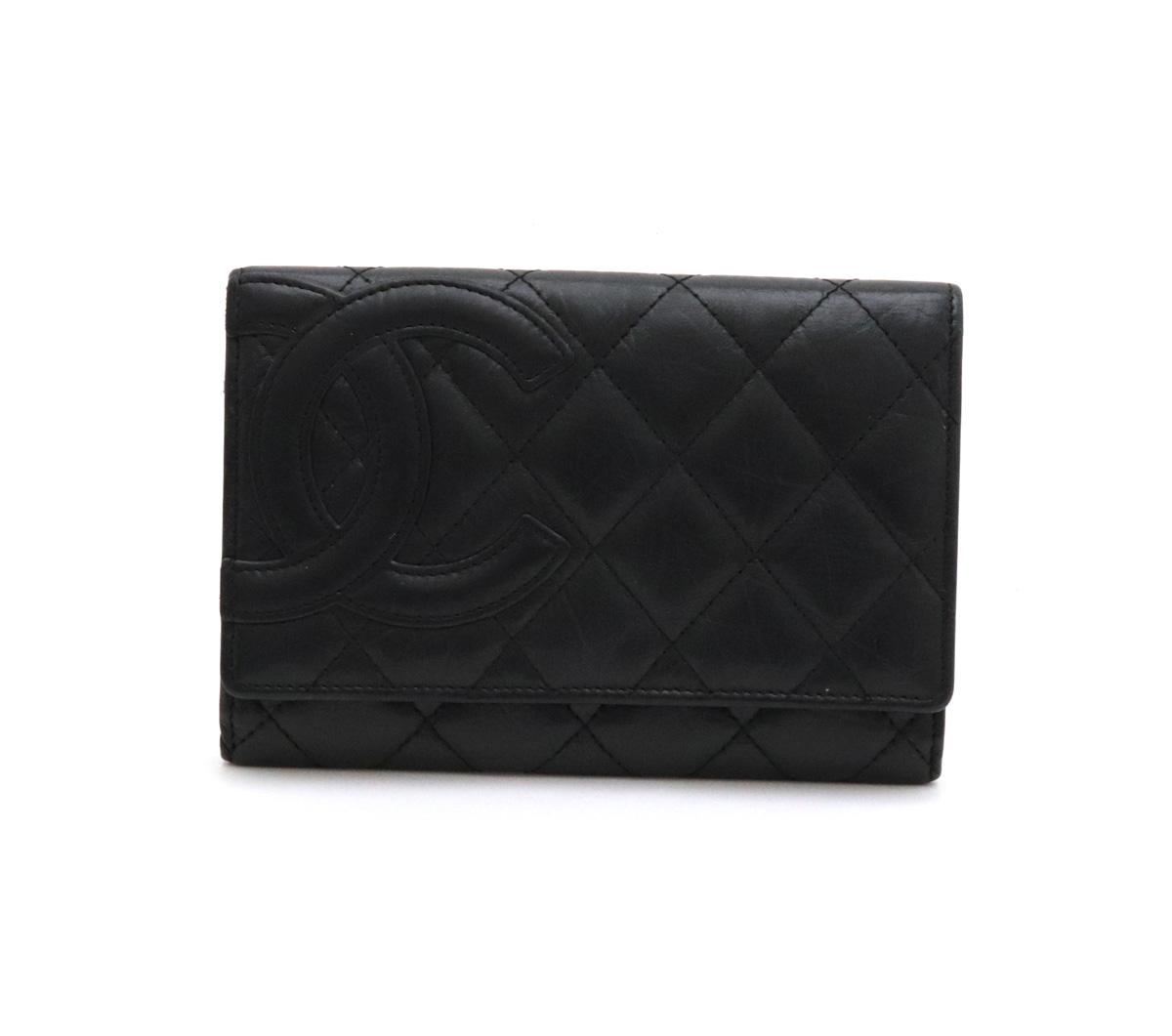 【財布】CHANEL シャネル カンボンライン ココマーク 2つ折財布 二つ折り レザー ソフトカーフ 黒 ブラック A26722 【中古】