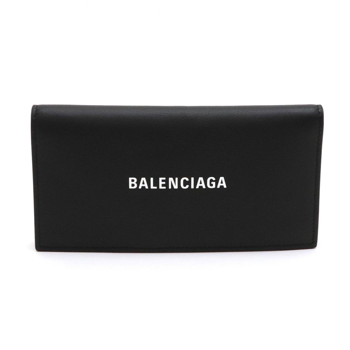 【財布】BALENCIAGA バレンシアガ ロゴ エブリデイ 2つ折長財布 二つ折り レザー ブラック 黒 531522 【中古】
