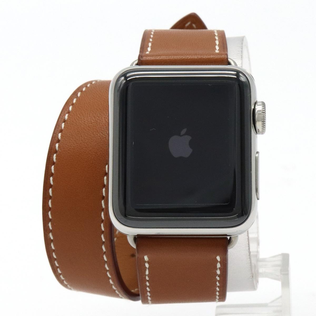 【ウォッチ】HERMES エルメス アップルウォッチ Series2 38mm SS 革ベルト レディース 充電式 スマートウォッチ 腕時計 MNTP2J/A 【中古】