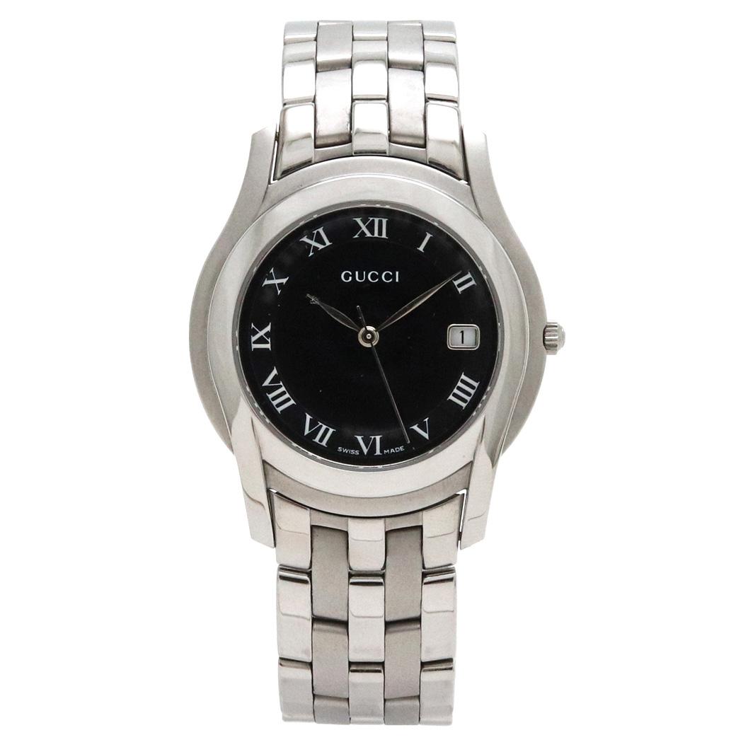 【ウォッチ】GUCCI グッチ ブラック文字盤 デイト メンズ QZ クォーツ 腕時計 5500M 【中古】