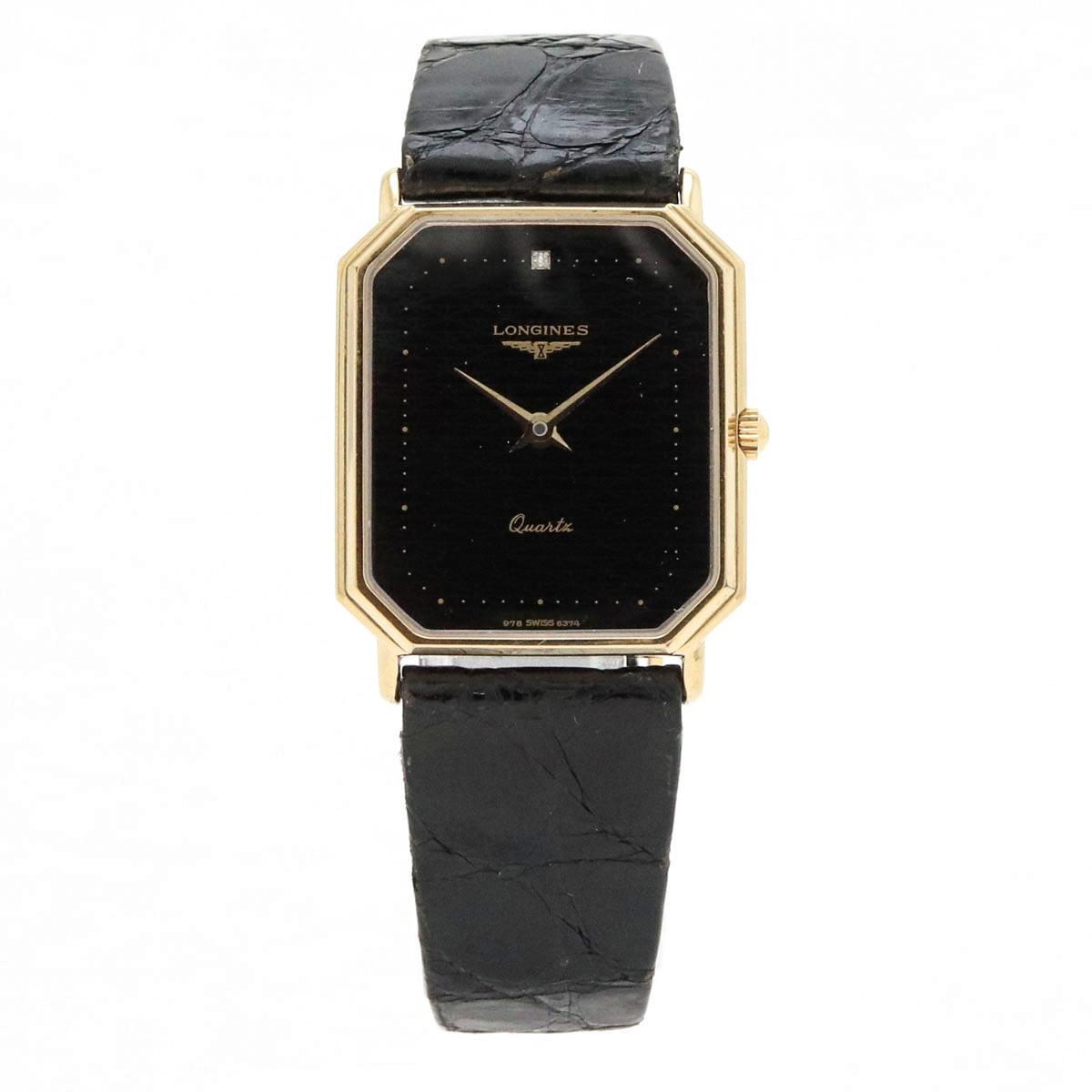 【ウォッチ】LONGINES ロンジン スクエア型 ブラック文字盤 GP 革ベルト メンズ QZ クォーツ 腕時計 【中古】