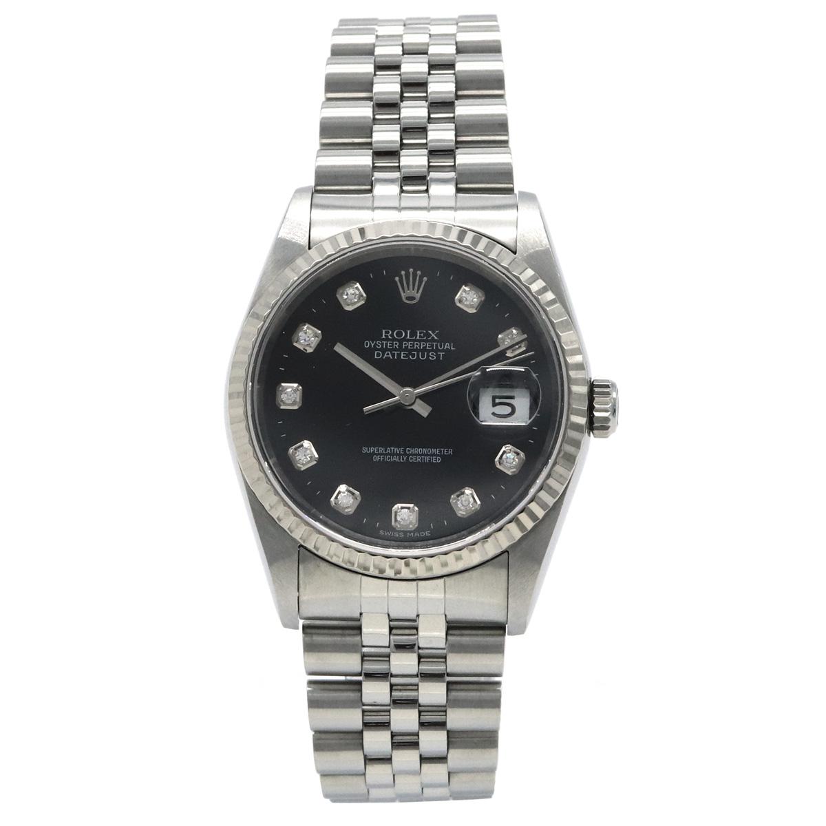 【ウォッチ】】ROLEX ロレックス デイトジャスト 10Pダイヤ ブラック文字盤 K18WGベゼル SS 新ダイヤ F番 メンズ AT オートマ 腕時計 16234G 【中古】