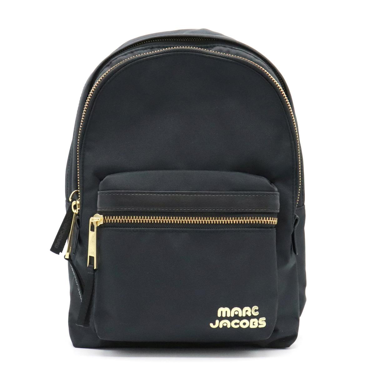 【バッグ】MARC JACOBS マーク ジェイコブス バックパック リュック デイパック ナイロンキャンバス レザー ブラック 黒 ゴールド金具 M0014031-001 【中古】
