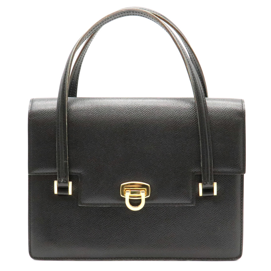 【バッグ】MORABITO モラビト ハンドバッグ 型押し レザー ブラック 黒 ゴールド金具 【中古】