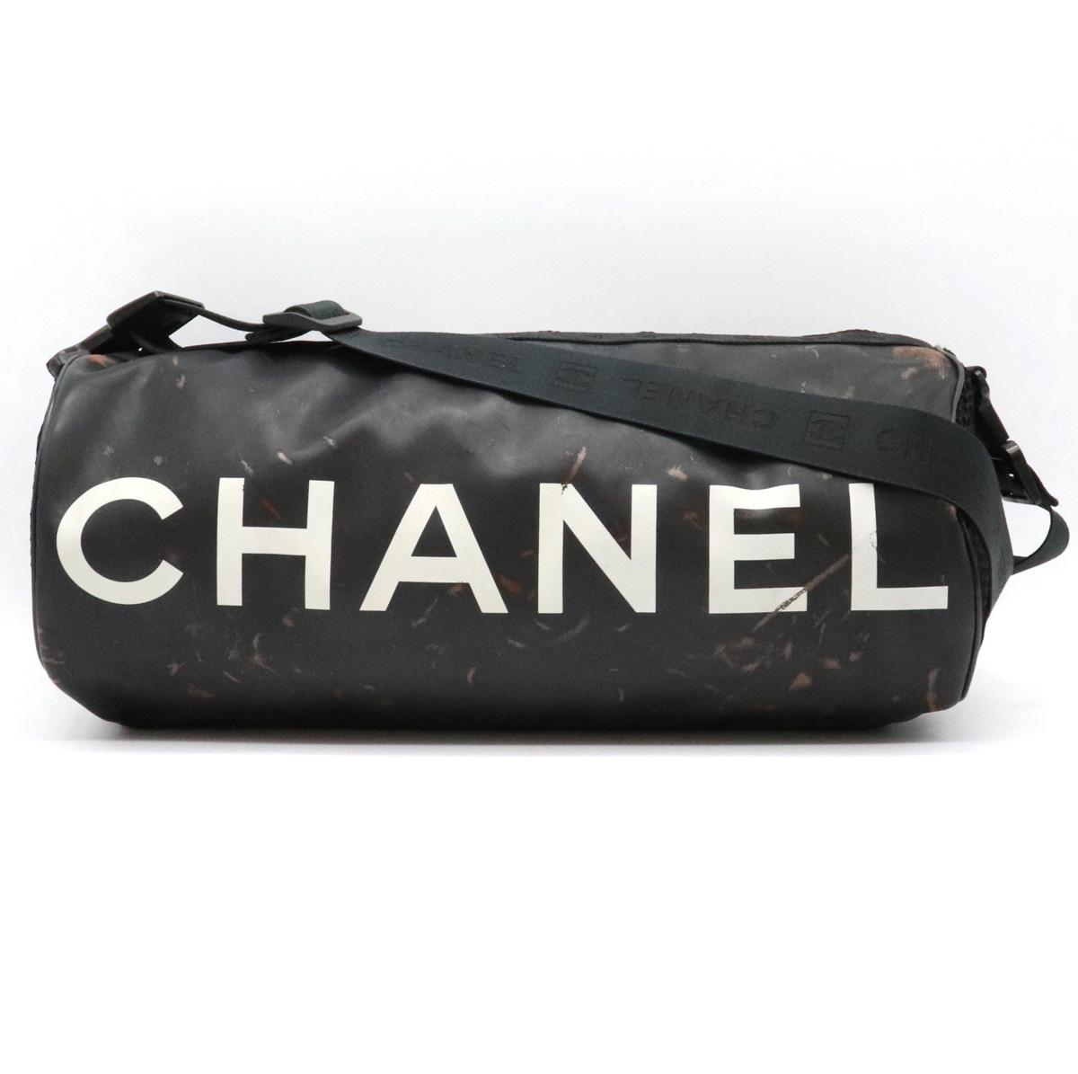 【バッグ】CHANEL シャネル スポーツライン ココマーク ショルダーバッグ 筒型 斜め掛け ラバー ナイロン ブラック 黒 ホワイト 白 A28561 【中古】