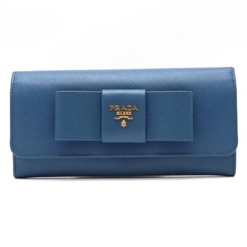 【財布】PRADA プラダ SAFFIANO サフィアーノ 長財布 リボン 型押しレザー ブルー 青 ゴールド金具 1M1132 【中古】
