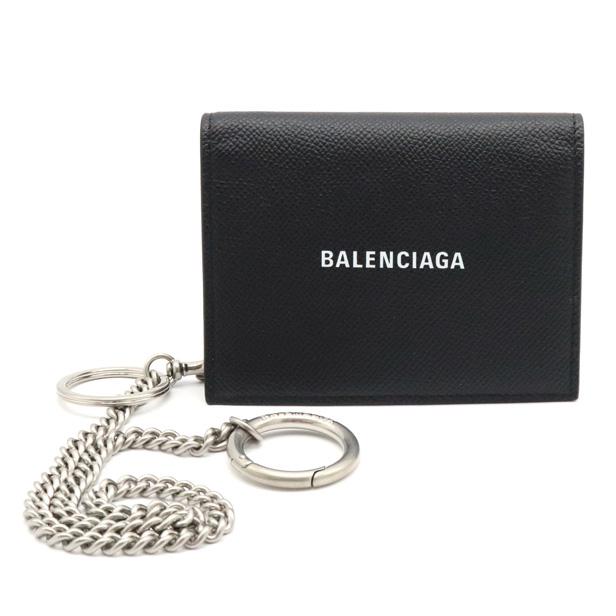 【新品未使用品】【財布】BALENCIAGA バレンシアガ チェーンウォレット 3つ折財布 キーリング付 レザー ブラック 黒 593807