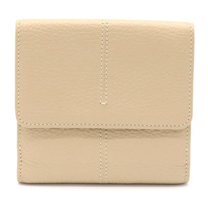 【財布】TOD'S トッズ Wホック 二つ折り財布 財布 レザー ベージュ 【中古】
