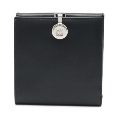 【財布】LOEWE ロエベ Wホック 二つ折り財布 レザー ブラック 黒 シルバー金具 【中古】