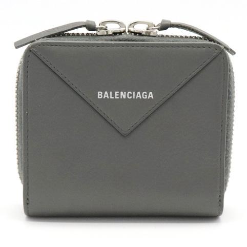 【財布】BALENCIAGA バレンシアガ ペーパー ビルフォールド 2つ折り財布 グレー シルバー金具 371662 【中古】