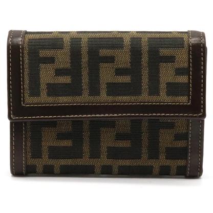 【財布】FENDI フェンディ ズッカ柄 三つ折り財布 レザー キャンバス カーキブラウン ダークブラウン 茶 2251 30729 【中古】