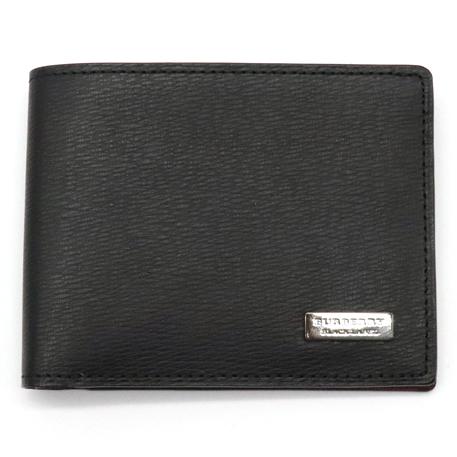 【財布】BURBERRY バーバリー ブラックレーベル 2つ折札入れ 2つ折り財布 レザー 黒 ブラック ボルドー 【中古】