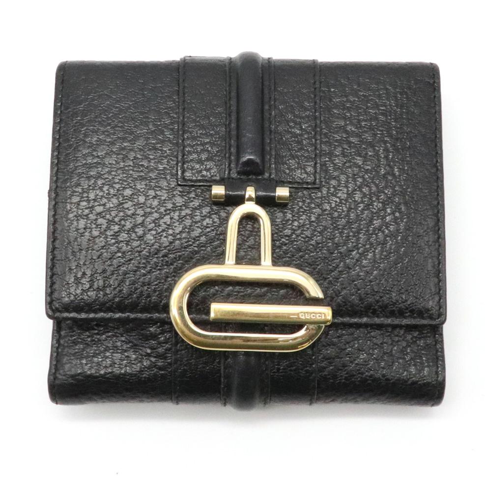 【財布】GUCCI グッチ 2つ折財布 二つ折り ダブルホック Wホック レザー ブラック 黒 ゴールド金具 131848 【中古】
