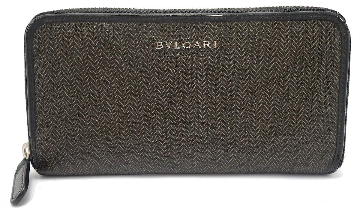 【財布】BVLGARI ブルガリ ウィークエンド ラウンドファスナー 長財布 PVC レザー ブラック 黒 ダークグレー 32587 【中古】