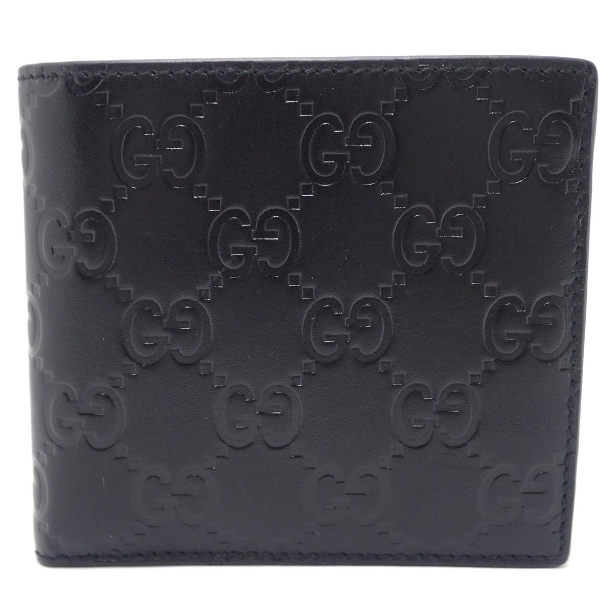 【未使用品】【財布】GUCCI グッチ グッチシマ 2つ折財布 レザー ブラック 黒 146223 【中古】