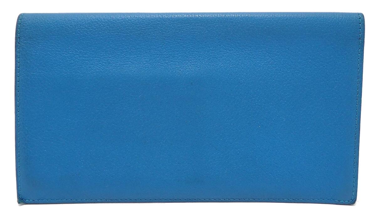 【財布】HERMES エルメス シチズン ツイル シルクイン 2つ折 長財布 ヴォースイフト ターコイズ ブルー 青 X刻印 【中古】