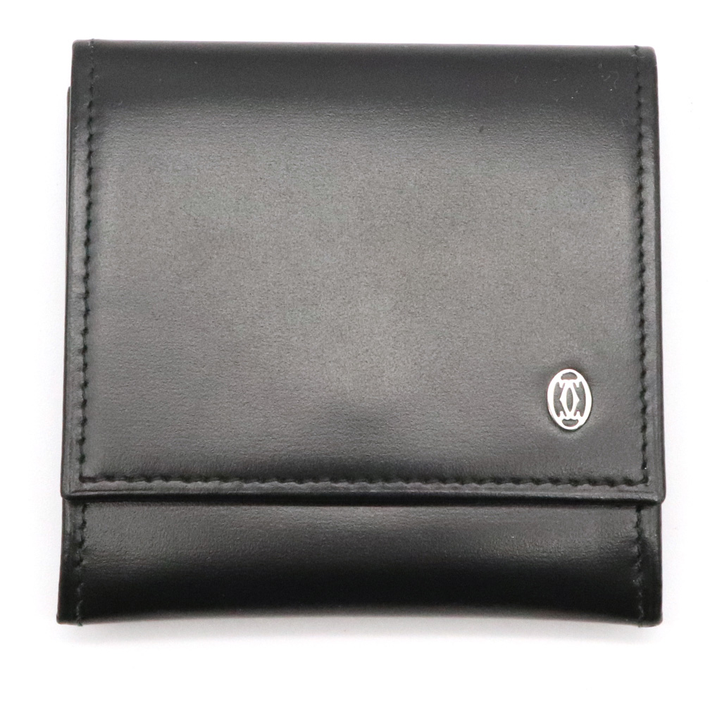【財布】Cartier カルティエ パシャ コインケース 小銭入れ コインパース カーフレザー 黒 ブラック シルバー金具 L3000205 【中古】