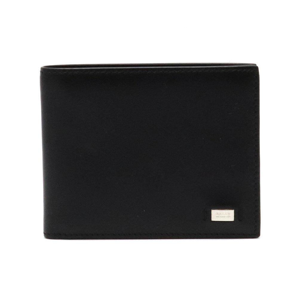 【財布】BALLY バリー 2つ折財布 二つ折財布 札入れ レザー ブラック 黒 シルバー金具 【中古】
