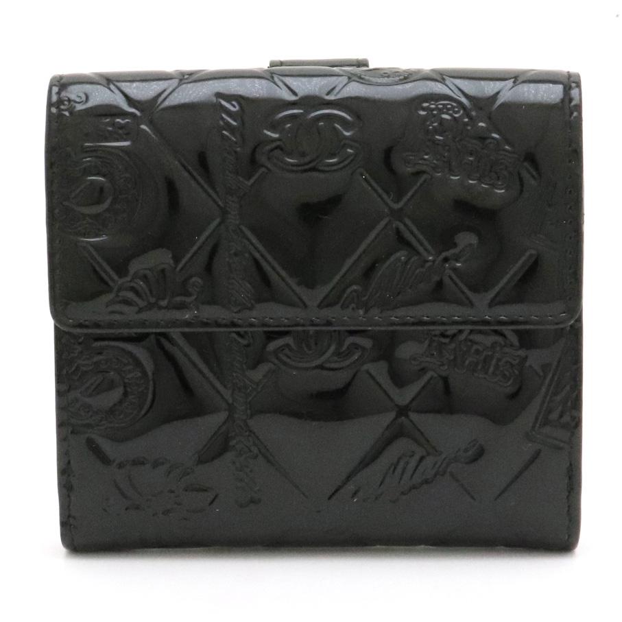 【財布】CHANEL シャネル アイコン シンボルチャーム 2つ折財布 二つ折財布 Wホック財布 パテントレザー エナメル ブラック 黒 シルバー金具 A48053 【中古】