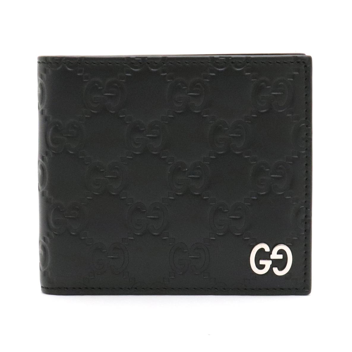 【財布】GUCCI グッチ グッチシマ ドリアン 2つ折財布 二つ折り ロゴ レザー ブラック 黒 シルバー金具 473922 【中古】