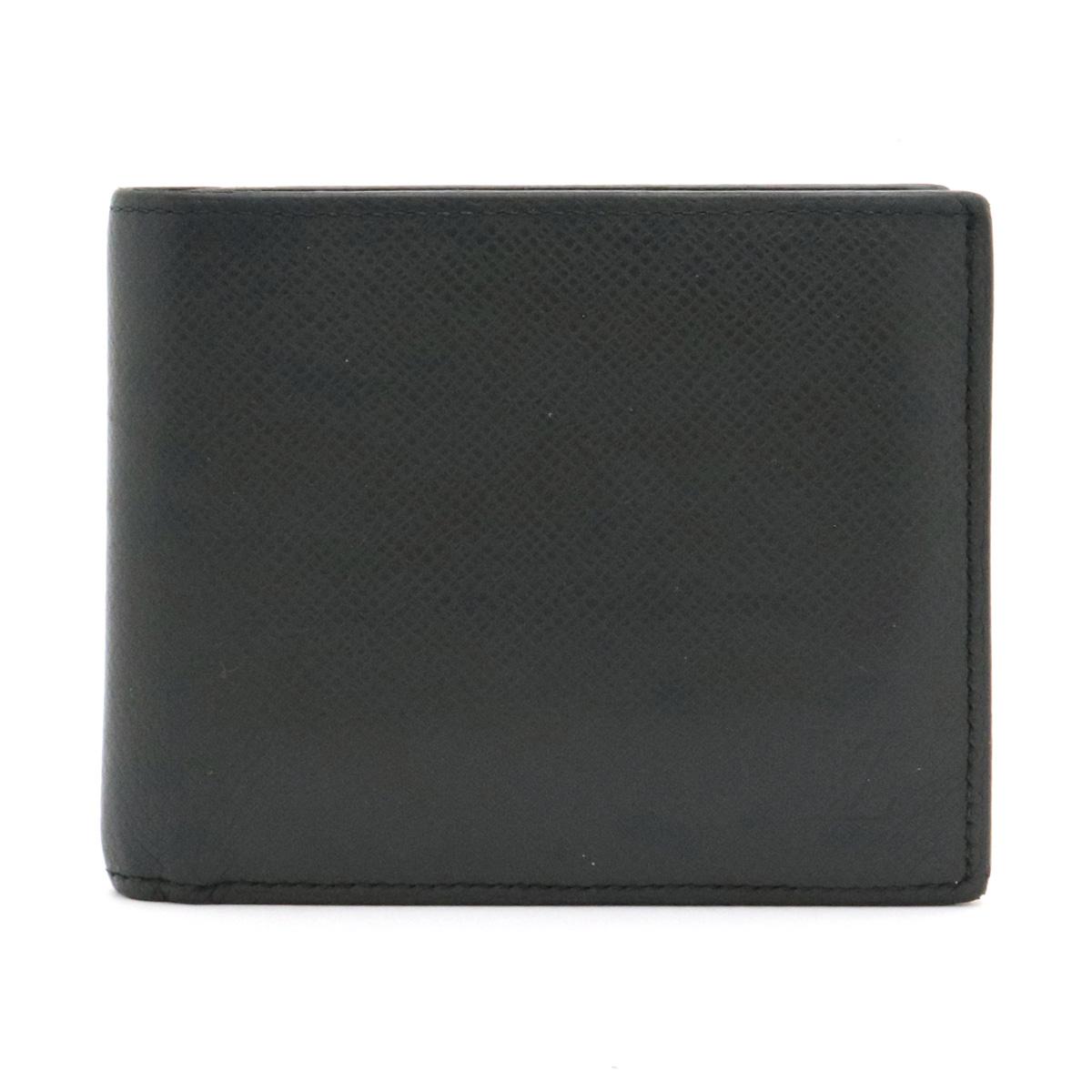 【財布】LOUIS VUITTON ルイ ヴィトン タイガ ポルトフォイユ アメリゴ 2つ折財布 二つ折り レザー アルドワーズ ブラック 黒 メンズ M42100 【中古】