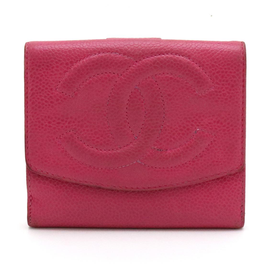 【財布】CHANEL シャネル キャビアスキン ココマーク 2つ折 二つ折り Wホック財布 ダブルホック レザー フューシャ ピンク 赤紫系 A13496 【中古】