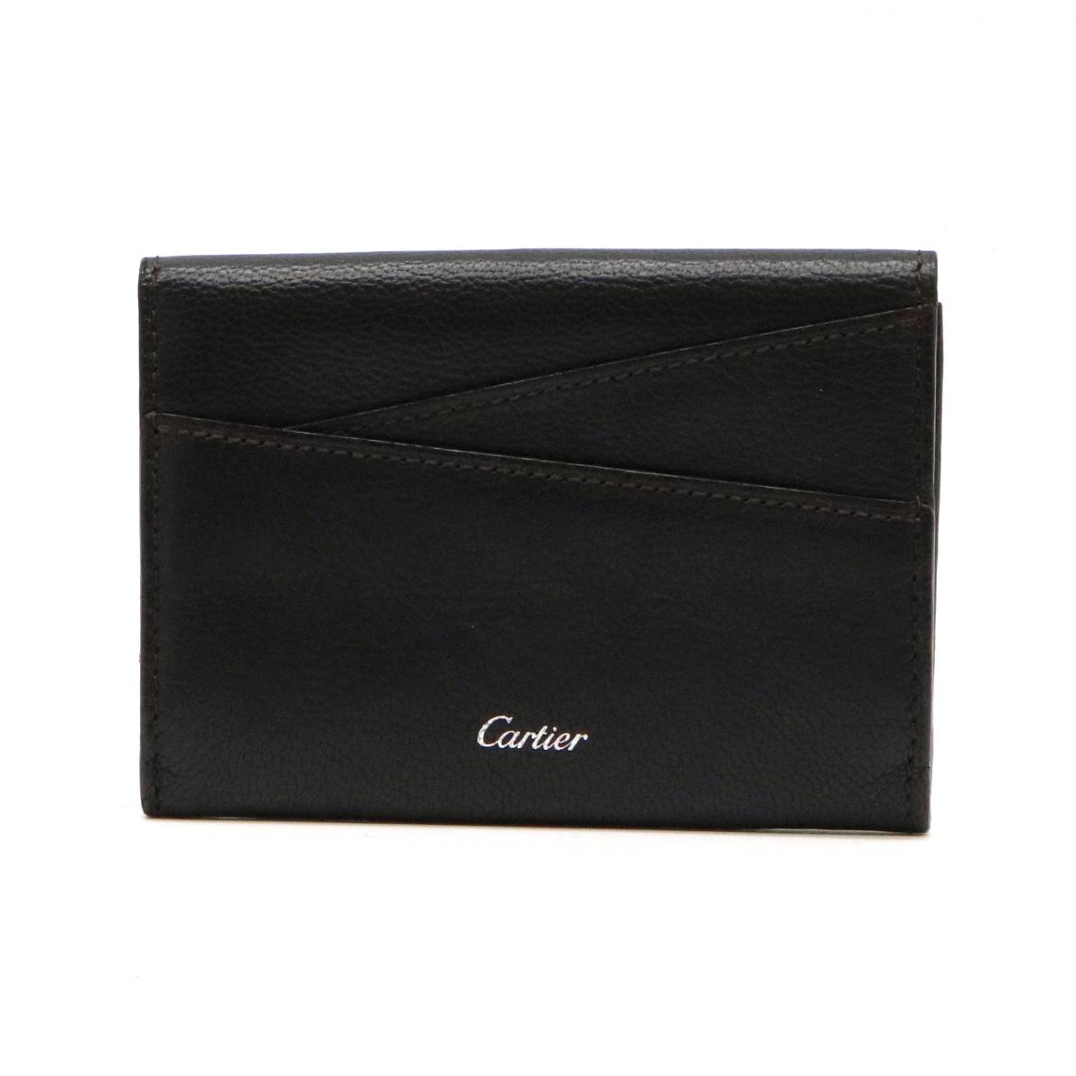 Cartier カルティエ レ マスト カードケース パスケース 名刺入れ レザー カーフ ブラック 黒 シルバー金具 【中古】