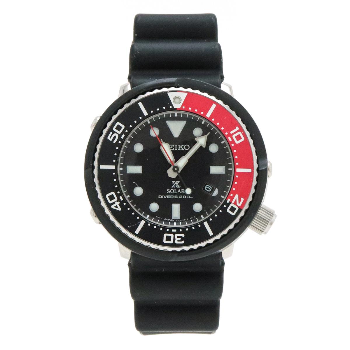 【ウォッチ】SEIKO セイコー PROSPEX プロスペックス ダイバーズ 200m デイト ブラック文字盤 限定モデル メンズ ソーラー 腕時計 V147-0BN0 SBDN053 【中古】